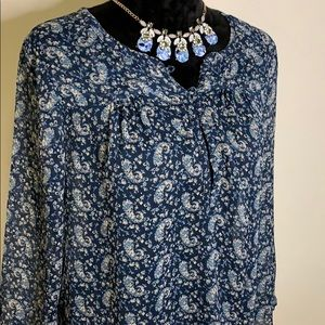 Lucky Brand Blue Floral Sheer Top